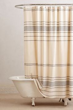 love the simple but elegant  shower curtain. Anthropologie Rippled Stripes Shower Curtain