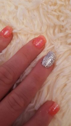 Full set of glitter acrylics with tips at sexy heads