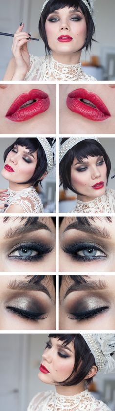 1920's makeup inspiration red defined lips and thin eyebrows, pale face and big lashes