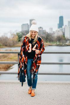 Plaid Poncho Sweater // Pom-Pom Fur Hat