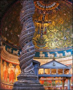 A solomonic column is a helical column whose shaft twists in a corkscrew pattern. These columns were typically ornamented and had a capital that took on many styles. These columns are often associated with Byzantine architecture. (Chapter 7-Part1) Photo credit to Guillen Perez. No changes were made to this image. License: https://creativecommons.org/licenses/by-nd/2.0/