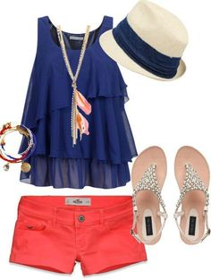 Blue and coral and the sandals are cute find more women fashion on http://www.misspool.com find more women fashion ideas on www.misspool.com