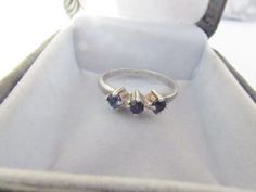 Vintage Sterling Silver Sapphire Ring  Size by PureJewelryElegance