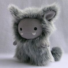 RESERVED for Atrian  Grey Frost Monster Plush Toy by stuffedsilly