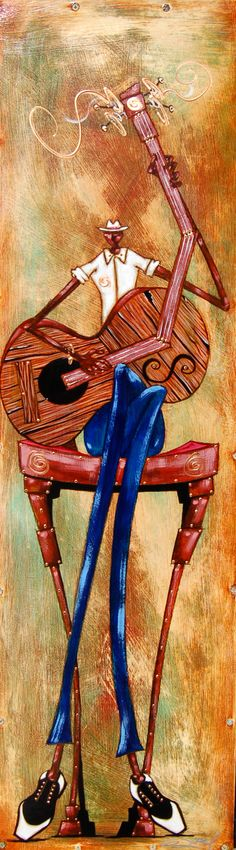Country Blues is a limited edition piece by Gerald Ivey highlighting a black man sitting down and strumming a broken guitar. Music Illustration, Illustrations, African American Art, African Art, Sketch Manga, Jazz Art, Instruments, Black Artwork, Afro Art