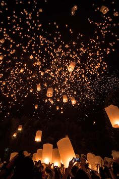Every fall, the Yee Peng (or Yi Peng) lantern festival is held in Chiang Mai, Thailand, coinciding with the Thai holiday ofLoy Krathong. (c) 2012 Daniel Nahabedian