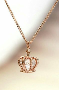 Crown pendant necklace with enclosed Swarovski diamond cut crystal. Available in… - Diamond Jewelry Cute Jewelry, Jewelry Box, Jewelry Accessories, Fashion Accessories, Jewelry Necklaces, Fashion Jewelry, Jewlery, Pretty Necklaces, Gold Jewelry