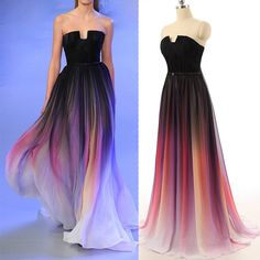 HG383 Long Prom Dress,Chiffon Prom Dress,Gradient Prom Dresses,Cheap Prom Dress,Formal Evening Dress,Women Party Dress