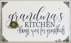 Grandma's Kitchen Sign – On The Avenue - Home Decor & Gifts Christmas Gifts For Grandma, Great Mothers Day Gifts, Grandma Gifts, Mother Day Gifts, Chalkboard Paint Kitchen, Chalkboard Signs, Kitchen Paint, Chalkboards, Kitchen Quotes