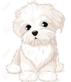 26016826-Clipart-Maltese-Puppy-Dog-Foto-de-archivo.jpg (1122×1300)