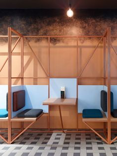 Steel frame idea, use more rusty copper colour or same colour as windows make it like one Geometric shapes, pop of colour to break down the neutral colour scheme Banquette Seating Restaurant, Cafe Seating, Public Seating, Lounge Seating, Restaurant Chairs, Deco Restaurant, Restaurant Design, Restaurant Interiors, Restaurant Counter