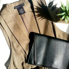 """• Host Pick • Taupe Vest Taupe open-front vest with ruffled bottom. 100% polyester, about 23.5"""" from shoulder to hem. So chic, so classy!  Never worn. In excellent condition! Handbag bought from @lovelionessie Jackets & Coats Vests"""