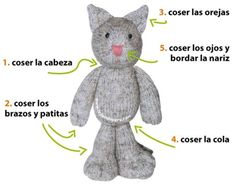Paso a paso: cómo tejer un gato ninja en dos agujas o palitos (knitted ninja kitten tutorial) Knitted Cat, Knitted Animals, Knitted Dolls, Crochet Toys, Crochet Baby, Knit Crochet, Addi Express, Knitting Dolls Clothes, Toy Puppies