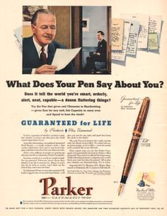 1940 Parker Fountain Pen print ad What does by catchingcanaries, $9.00