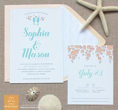 Beach Boho Chic Romantic Blue Pink Beach Invitations Reply Cards Spring Summer Wedding Invitations Photos & Pictures - WeddingWire.com