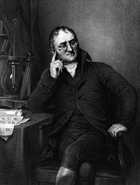 İngiliz kimyager, fizikçi-John Dalton (6 Eylül 1766 – 27 Temmuz 1844), İngiliz kimyager, meteorolog ve fizikçi. Modern Atom Teorisi ile ilgili öncü çalışmaları ve renk körlüğü (Onun onuruna Daltonizm olarak da bilinir.) üzerine araştırmalarıyla bilinir.
