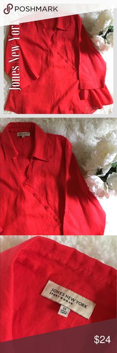 Jones New York Long Sleeve Red Linen Blouse Jones New York Long Sleeve Red Linen Blouse. Beautiful color and design. Perfect condition. No tears, rips, stains, or fading. Jones New York Tops Blouses
