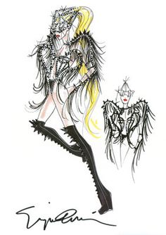 lady gaga/armani fashion illustration