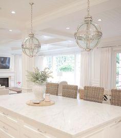 White kitchen , marble kitchen, restoration hardware , coastal style, open concept, coastal farmhouse