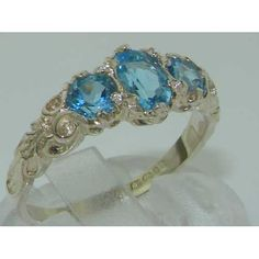 Ladies Solid White 10K Gold Natural Blue Topaz English Victorian Trilogy Ring – Size 8 – Finger Sizes 5 to 12 Available – Ideal gift for Valentines, Mothers Day, Birthday, Christmas, Thanksgiving, Graduation, Confirmation, Easter http://www.easterdepot.com/ladies-solid-white-10k-gold-natural-blue-topaz-english-victorian-trilogy-ring-size-8-finger-sizes-5-to-12-available-ideal-gift-for-valentines-mothers-day-birthday-christmas-thanksgiving-gra/ #easter  One centre oval cut 6×4 mm (0.2..