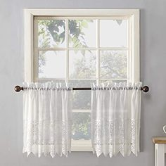 Scalloped macrame lace designGently filters light while enhancing privacyRod pocket design allows for easy hanging on a standard curtain rodMachine washableComp Voile Curtains, Tier Curtains, Cafe Curtains, Kitchen Curtains, Kitchen Windows, Joy Kitchen, Kitchen Decor, Design Kitchen, Kitchen Ideas
