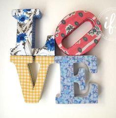 LOVE letras decorativas em tecido | Artemix