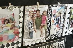Count Your Blessings Board -- uses clothespins to attach photos, so they can be easily changed. :o)