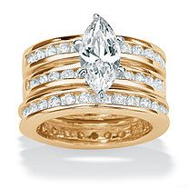 3 Piece 3.45 TCW Round Cubic Zirconia Bridal Ring Set in 18k Gold over Sterling Silver at PalmBeach Jewelry