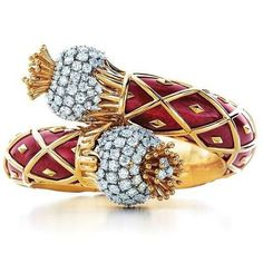 Thistle bracelet of gold, enamel and diamonds by Jean Schlumberger for Tiffany&Co.