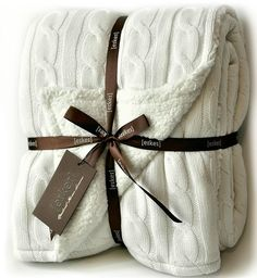 Enjoy exclusive for Cable Knit Sherpa Oversized Throw Reversible Blanket Faux Sheepskin Lined Cozy Cotton Blend Sweater Knitted Afghan Grey White Turquoise Blue (X-Large Off White) online - Tophitsfurniture Knitted Afghans, Knitted Blankets, Cable Knit Throw, Cozy Blankets, Grey And White, Lana, Reusable Tote Bags, Couture, Knitting