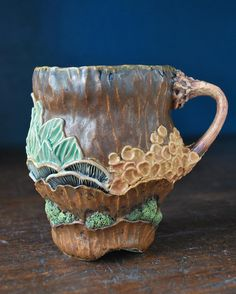 This was the mug I was working on in the Art Insider video many of you seen I used a different glaze than usual ( Potter's… Clay Texture, Ceramic Cups, Clay Projects, Glaze, Beautiful Places, Coral, Pottery, Ceramics, Mugs