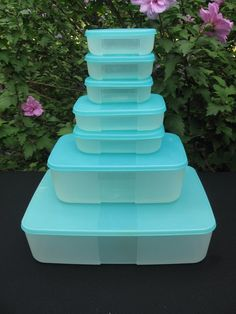 Tupperware FreezeSmart Freezer Safe Containers Set of 7 Dial Sapphire Blue New