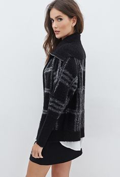 Fuzzy Plaid Shawl Collar Jacket | FOREVER21 - (zip front)