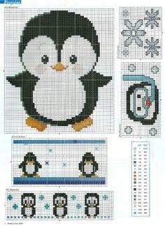 Pinguins em Ponto Cruz para o Enxoval do Bebê                              …