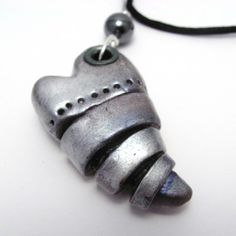 Polymer Clay Heart Pendant Necklace Silver Steampunk Style