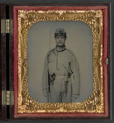 James W. Millner, who enlisted in Company K, 38th Virginia Infantry Regiment, as a sergeant; knife he carries may have been manufactured by Boyle & Gamble or Burger & Burger of Richmond, Virginia. , Charles R., photographer, sixth-plate ambrotype, hand-colored ; 9.7 x 8.3 cm (case), Taken between 1861 and 1865Rees; Liljenquist Family Collection of Civil War Photographs (Library of Congress).