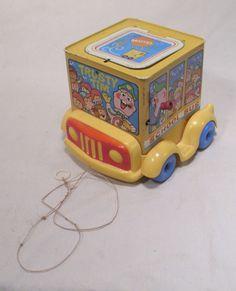 MATTEL TRUSTY TIM SCHOOL BUS JACK IN THE BOX TIN PULL TOY 1969 #Mattel Pop Goes The Weasel, Jack In The Box, Pull Toy, Old School, Tin, Vintage, Pewter, Vintage Comics