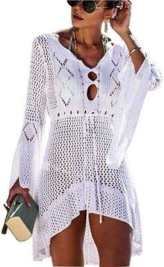 Sitzt super  【Hochwertige Qualität】: Aus weichem, und atmungsaktivem Material und leicht, hält Sie an heißen Tagen kühl, elegant und bequem. 【Classic Design】: Der Stil dieser Strandkleid Bikini Cover Up ist locker geschnitten, Gehäkelte Stoff, Sexy Bikini Cover up, Floral Lace Crochet, Hollow Out, Bell Sleeve, Loose Fit. 【Premium Material】: Strandkleid Bikini Cover Up Beach Bikini Lace Crochet Swimsuit. 100% Polyester, Bequemes Material, hautfreundlich. Pflegehinweis: 👗👗Hinweis: Bitte… Swimsuit Cover Up Dress, Bathing Suit Cover Up, Bikini Cover Up, Swim Cover, Swimwear Cover Ups, Bathing Suits, Sexy Bikini, Women Bikini, Bikini Swimsuit