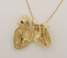 gold plated anatomical heart locket. the only kind of heart locket i'd wear.