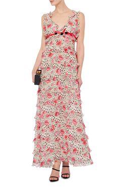 Silk Ruffled Maxi Dress by GIAMBA Now Available on Moda Operandi