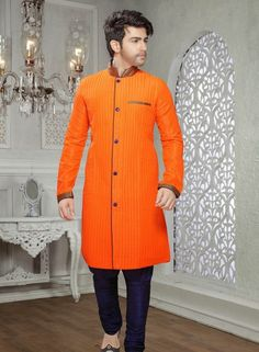 Art Silk Orange indian fashion kurta pajama for Eid C15216