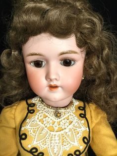"""Antique German Handwerck Halbig 4 28"""" Bisque Compo Doll Fancy Wool Outfit"""