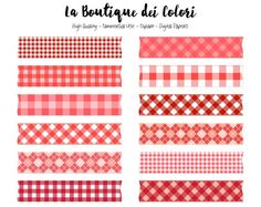 Red Gingham Washi Tape Clipart, Cute Diamond Tablecloth Clip art Frame, Label, Banner, Tag Scrapbook