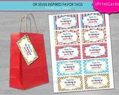 DIY PRINTABLE  Dr Seuss  Cat in the Hat Inspired by BraikDesign, $8.00; favor tag ideas