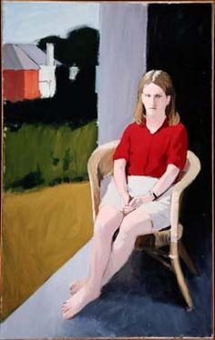 """Portrait of a Girl,"" Fairfield Porter, 1964-65, oil on canvas, 72 ¼ x 45"",  Albrecht-Kemper Museum."