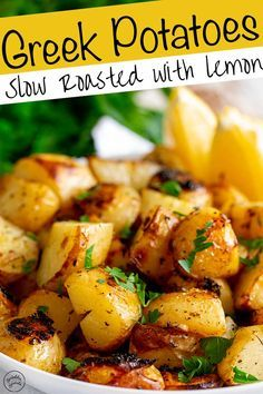 These authentic slow roasted Greek lemon potatoes are packed with delicious fresh zesty flavors of lemon, garlic, and oregano. They are so easy to make and are the perfect side dish for so many meals. Side Dish Recipes, Vegetable Recipes, Vegetarian Recipes, Cooking Recipes, Healthy Recipes, Oven Recipes, Potato Recipes, Potato Sides, Vegetarian