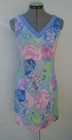 LILLY PULITZER Cozy Posie Kangaroo Print Blue Pink Floral Lined Cotton Dress 4 #LillyPulitzer