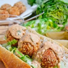 Fried Tuna Ball Po Boy Recipe : Tasty tuna balls fried until golden brown and crispy served in a po boy with tangy remoulade sauce and tangy pickled green tomatoes. Po Boy Sandwich, Soup And Sandwich, Sandwich Recipes, Fish Recipes, Seafood Recipes, Cooking Recipes, Healthy Recipes, Cookbook Recipes, Paninis