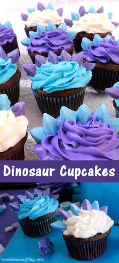 Coming up with a cupcake idea for a Dinosaur Party for Girls is a little bit tricky but we love how these Dinosaur Cupcakes turned out!  Inspired by a Stegasaurus (from a very colorful Land Before Time!) these fun and easy cupcakes were a hit at our Dinosaur Party. Follow us for more fun Dinosaur Party Ideas!