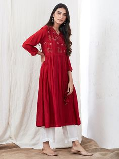 Red Zari Embroidered Cotton Silk Angrakha Kurta with White Palazzo- Set of 2 Dress Indian Style, Indian Dresses, Indian Outfits, Ethnic Outfits, Kurti Designs Party Wear, Kurta Designs, Blouse Designs, Dress Outfits, Casual Dresses